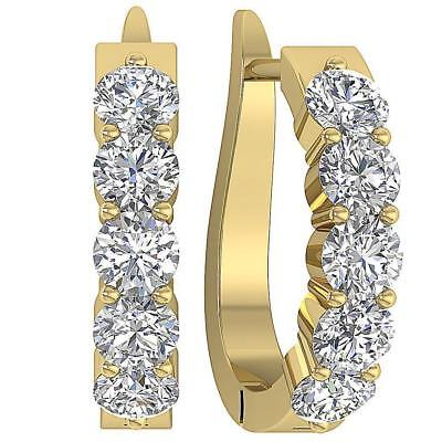 SI1 H Round Diamond Hoop Earrings 1.30Ct 14Kt White Yellow Rose Gold  360° Video