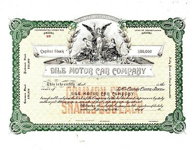 Dile Motor Car Company of Reading, PA ca-1915  Stock Certificate