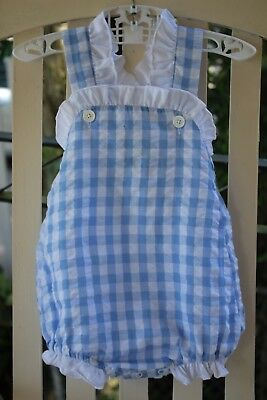 Cecil & Lou Blue seersucker gingham bubble ruffles 12 mos