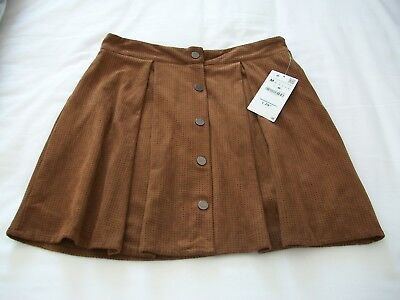 'zara'  Ladies Brown Suede Fully Lined Mini Skirt   Size  Medium  New