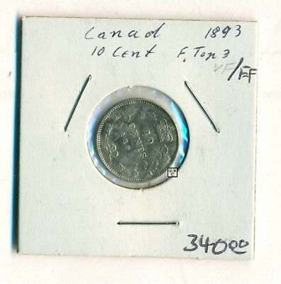 Canada 1893  10cent Coin , F. top 3 , VF/EF