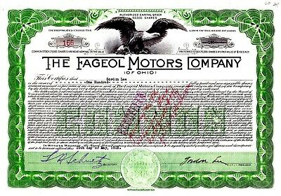 The Fageol Motors Company of Ohio 1925 Stock Certificate - Bus, Tractor, Autos