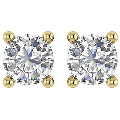 Solitaire Studs Earrings 0.50Ct Round Diamond I1 H 14Kt Yellow Gold Screw Back