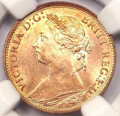 1886 Victoria Great Britain Farthing Coin 1/4P. NGC Uncirculated Detail (UNC)