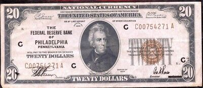 Astounding 1929 U.S. Philadelphia, Pennsylvania National Currency $20 Note EG545