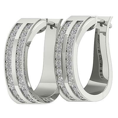 Hoops Earrings Pave Set SI1 H 1.01Ct Real Diamond 14K Solid White Gold Appraisal