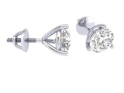0.40 Ct Natural Real Diamond Martini Set Solitaire Stud Earrings 14Kt White Gold