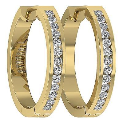 VS1 F Hoops Earrings 0.40Ct Channel Set Real Round Diamond White Gold 0.60 Inch