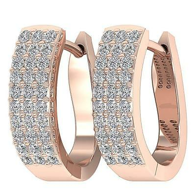 Hoops Earrings SI1 H 0.70Ct Genuine Diamond 14Kt Rose Gold 0.60Inch Prong Set