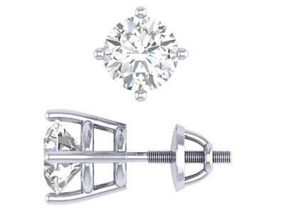 Solitaire Studs Earrings Round Cut Diamond SI1 H 0.70Ct 14K White Gold Appraisal