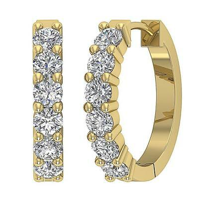 VS1 F Natural Diamond Hoops Earring 0.70Ct Prong Set 0.65Inch 14Kt Yellow Gold