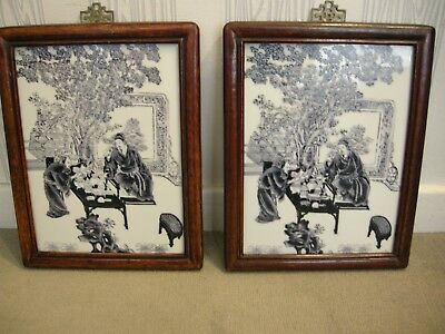A Pair of Vintage Chinese Porcelain Etched and Hand Coloured Framed Panels