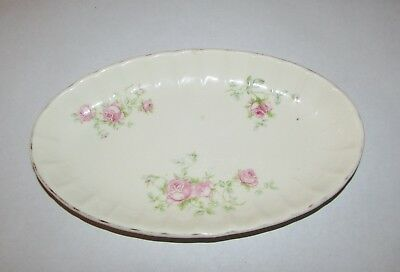 "9"" W.S. George Bolero Small Oval Porcelain Dish Platter Scalloped Pink Roses"