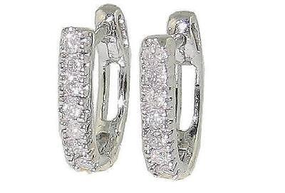 1/4 Ct Round Cut Diamond Hoop Earrings SI1 H 14Kt White Gold 0.60 Inch Pave Set