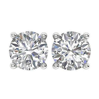 1.01 Ct Round Diamond Solitaire Studs Earrings 14Kt White Gold Prong Set 4.90mm