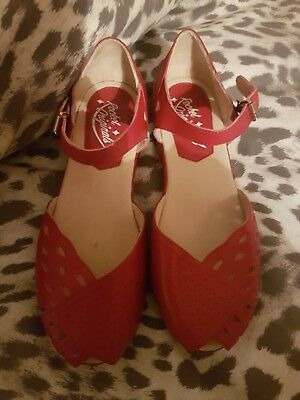 Rocket Originals Red Shoes 1940s / 50s Vintage Rockabilly pin up UK 6