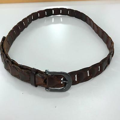 860d717275a64 3XL Men's Belt Vintage Brown Leather Flat Braided Belt Made in India  Unbranded