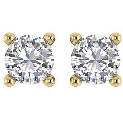 Solitaire Studs Earrings 0.70Ct Natural Round Diamond Four Prong 14K Yellow Gold