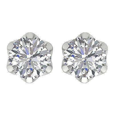 SI1 H 1.50 Ct Genuine Round Diamond Solitaire Studs 14Kt Solid Gold Screw Back
