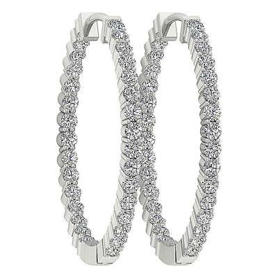 VVS1 F Round 0.75Ct In Side Out Side Round Diamond 14Kt White Gold Hoop Earrings