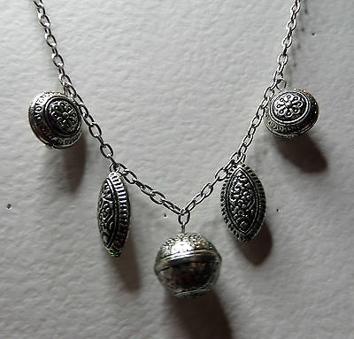 "VINTAGE STYLE CHUNKY CHARMS DARK SILVER PLATED CHAIN NECKLACE 24"" 60 cm"