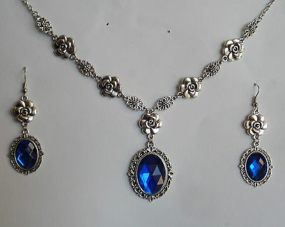 Camellia Filigree Victorian Style Blue Silver Plated Necklace Earrings Set Cfs