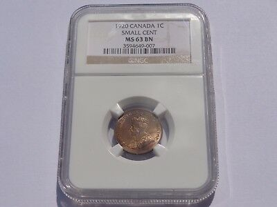 1920 Canada George V Small Cent Ngc Ms-63 Bn No Reserve! Super Nice! Must See!!!
