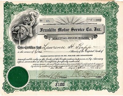 The Franklin Motor Service Company of New York 1922 Stock Certificate cut cancel