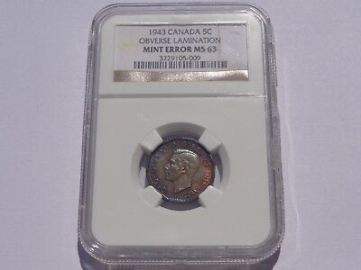 1943 Canada 5 Cents Obverse Lamination Mint Error Ngc Ms63 Super Nice! Must See!