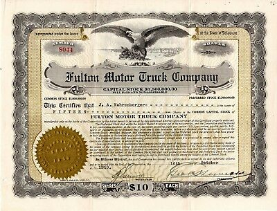 The Fulton Motor Truck Company of New York 1919 Stock Certificate