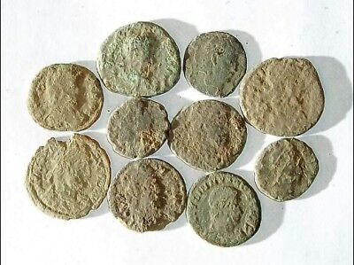 10 ANCIENT ROMAN COINS AE3 - Uncleaned and As Found! - Unique Lot 08720