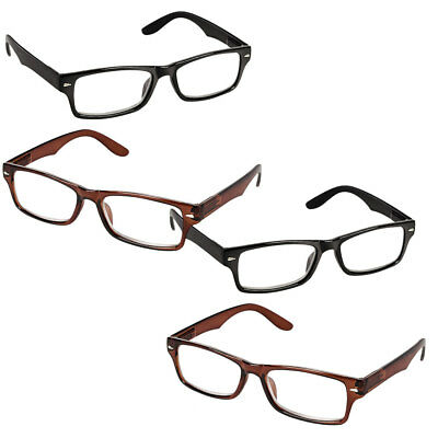 NEW (Set/4) Black And Brown Spring Hinge Reading Glasses +3.00 Magnification