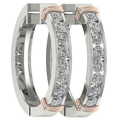 Round Diamond Hoops Earrings SI1 H 2.00Ct 14Kt White Yellow Rose Gold 1.00Inch
