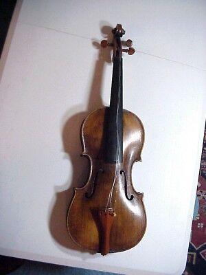 Antique 19th c VIOLIN with 1 Piece Tiger Maple Back BOXWOOD PEGS and TAIL PIECE
