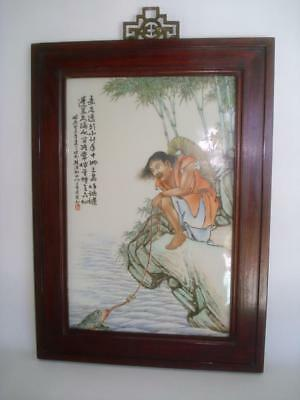 Antique Chinese Porcelain Famille Rose Plaque Fisherman & Frog Signed Republic