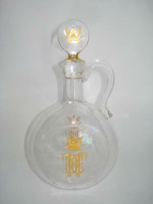 Antique Royal Gold Monogram Etched Glass Decanter Carafe 19Th C French European