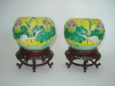 Fine Pair Antique Chinese Porcelain Famille Verte Biscuit Vases & Stands 19Th C