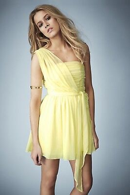 92ddb9b79c0  170 Kate Moss For TopShop- Yellow One Shoulder Chiffon Dress Sz  2