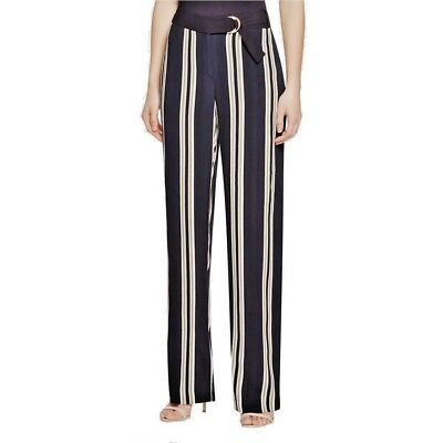 NWT Vince Camuto Womens Black Striped Wide Leg Belted Casual Pants MSRP $119