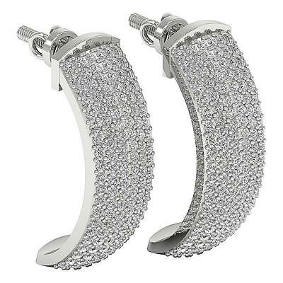 Huggies Earrings VVS1 F Pave Set 1.01Ct Natural Diamond 14Kt Solid Gold 0.80Inch