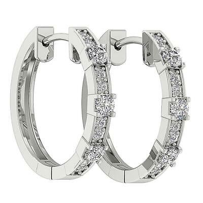 Hoops Earrings I1 H 0.40Ct Genuine Diamond Prong Channel Set White Gold 0.70Inch