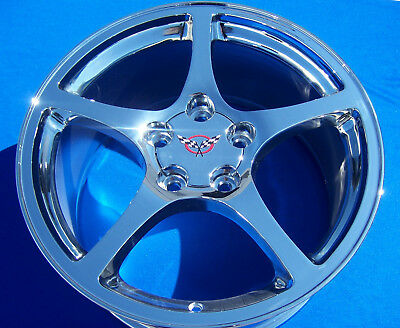 Corvette C5 17 & 18 Inch Chrome Wheels Rims '97-2004 Oe Staggered 17X8.5 18X9.5