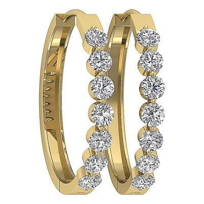VVS1 F 1.30Ct Natural Round Diamond Shared Prong Hoop Earrings White Yellow Gold
