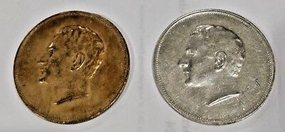 2x - Silver Bronze 25th Anniversary of Mohammad Reza Pahlavi Kingdom Medal Coin