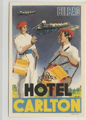 Vintage Luggage Label~Hotel Carlton~Bilbao,spain