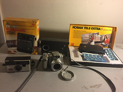 Lot of 5 Different Kodak Cameras Champ Kodamatic Tele-Extra `134 35mm Instamatic