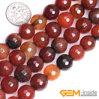 "Natural Dream Lace Agate Gemstone Faceted Round Beads For Jewelry Making 15"" YB"