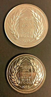 1973, 1974, 1975, 1976, 1977, 1978 India 2 piece silver proof sets (6 sets)