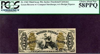 HGR FR#1362 3rd Issue 50c FRACTIONAL ((RARE Issue)) PCGS AU-58PPQ