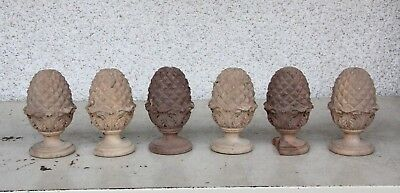 6 X Unusual Hand Carved Wooden Acorn Shaped Gothic Carvings